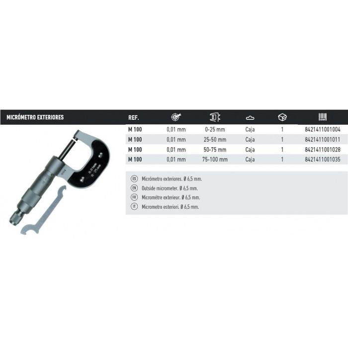 MICROMETRO DE EXTERIORES M-100 25-50MM.