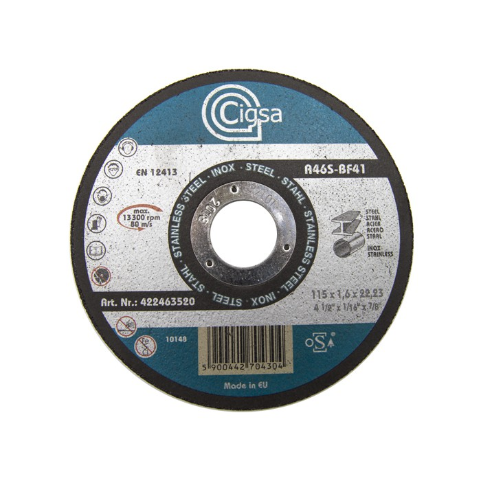 DISCO DE CORTE METAL/INOX. CIGSA 115X1,6 A46S-BF41